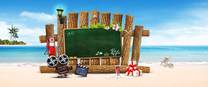 海景黑板浪漫背景