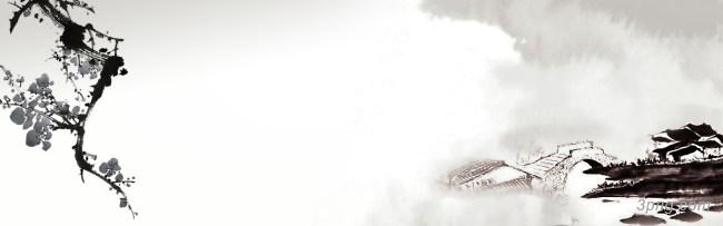 江南水墨中国风Banner背景背景高清大图-江南背景自然/风光