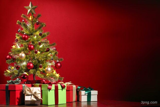 圣诞树装饰礼品背景高清大图-圣诞树背景节日/喜庆