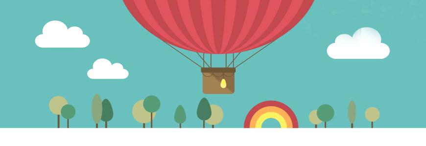 卡通热气球树林清新背景banner