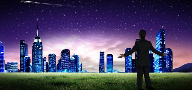 蓝色夜空城市背景
