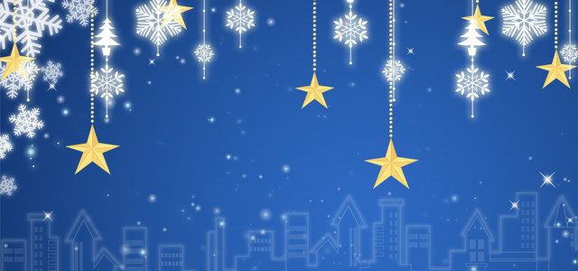 蓝色圣诞星空背景banner