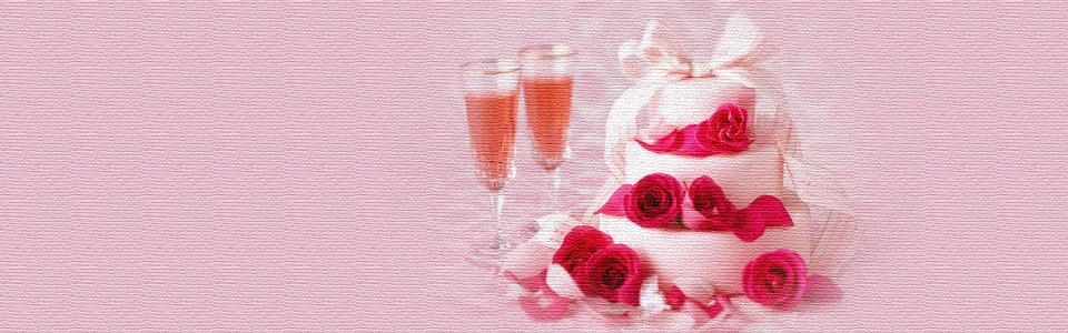 创意浪漫蛋糕香槟海报背景