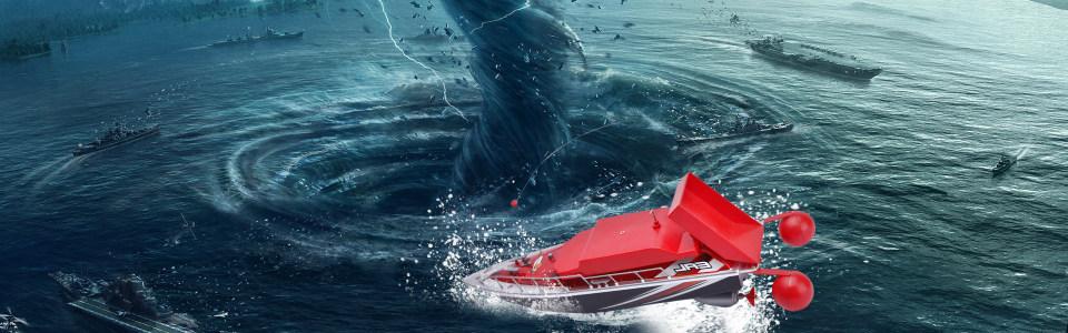 动漫船只海上漩涡背景banner