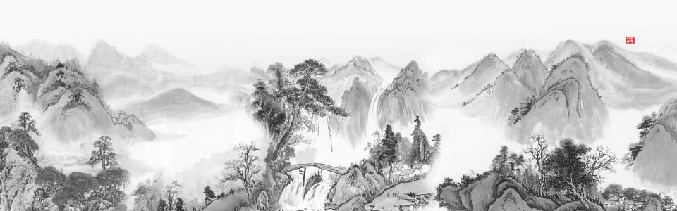 大气中式水墨山河海报背景