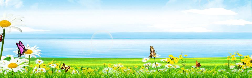 清新唯美海边美景淘宝海报