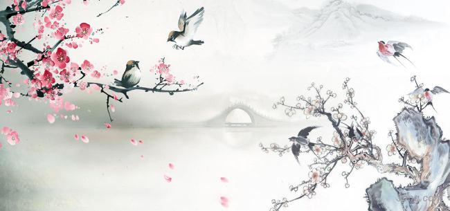 水墨桃花背景背景高清大图-水墨背景自然/风光