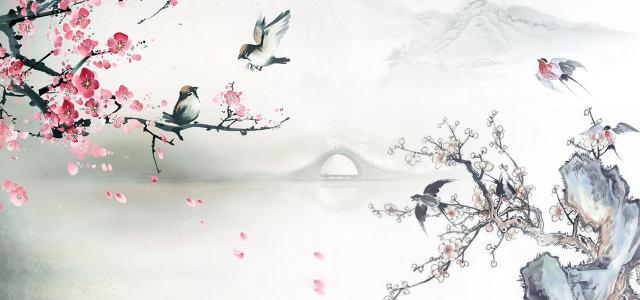 水墨桃花背景高清背景图片素材下载