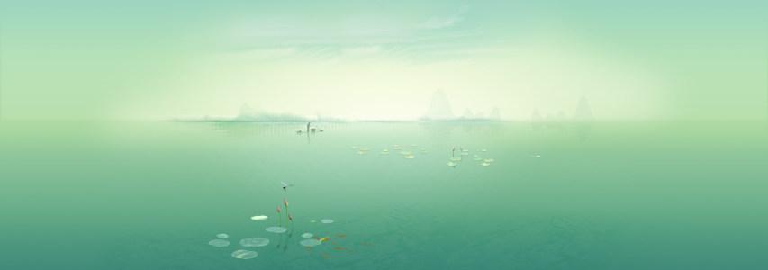 治愈系湖畔banner背景高清背景图片素材下载