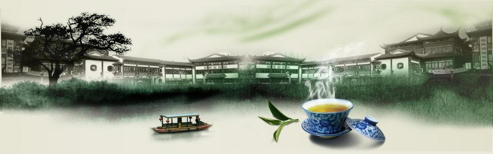 茶江南古镇背景高清背景图片素材下载