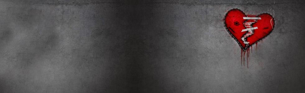 黑色背景破裂的心背景banner