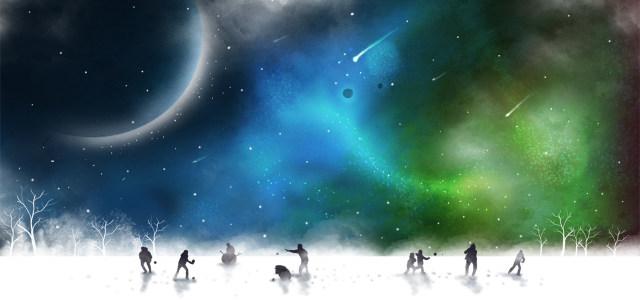 星空下的雪地和人插画psd分层背景banner