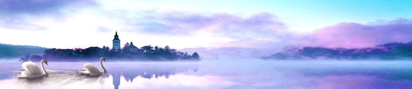 浪漫优雅天鹅湖美景高清背景图片素材下载