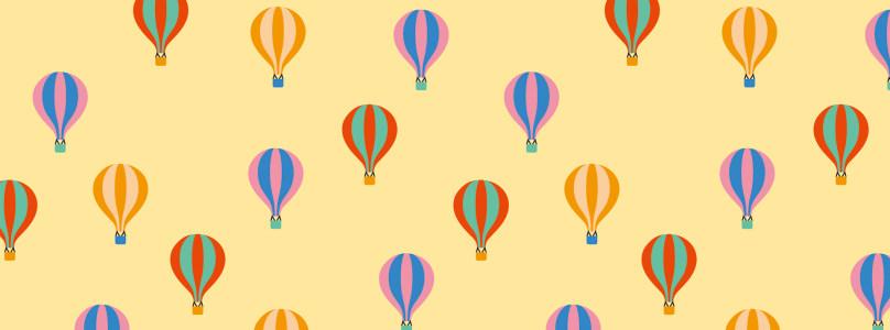 卡通彩色热气球背景banner