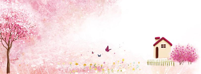 粉色温馨树水墨画背景banner高清背景图片素材下载