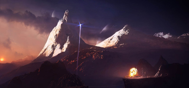 星球探索山脉高清背景图片素材下载