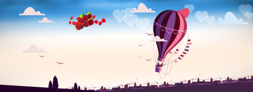 爱情热气球玫瑰背景banner