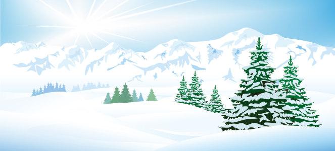 动漫雪景松林山脉背景banner高清背景图片素材下载