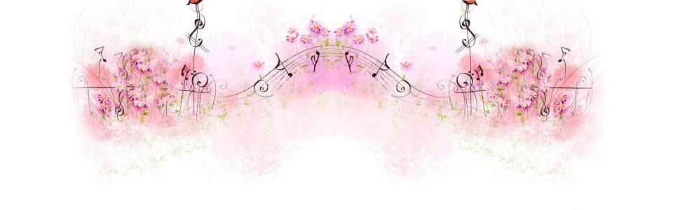清新手绘音符花朵海报背景
