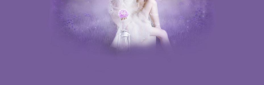 紫色浪漫薰衣草女孩背景banner高清背景图片素材下载