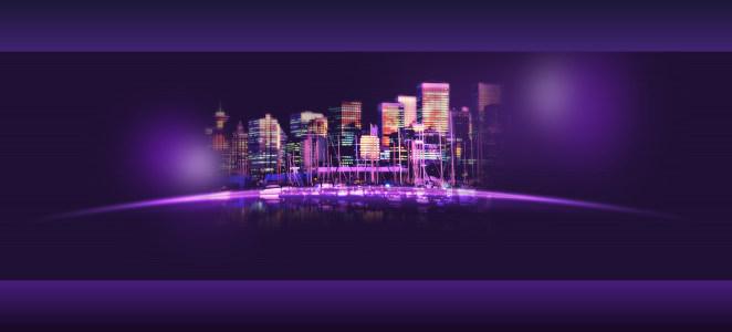 紫色城市夜景海报