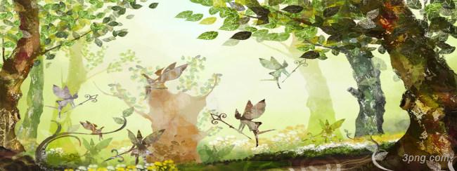神秘森林背景背景高清大图-背景背景古典/中国风