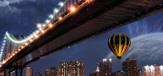 夜晚灯光大桥背景