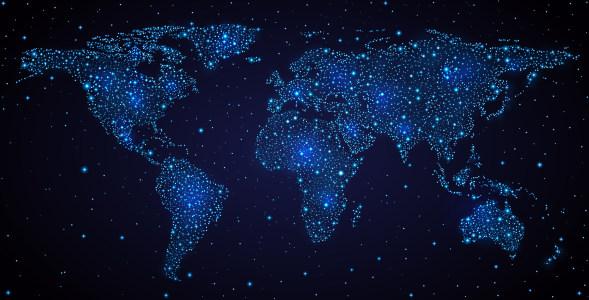 蓝色梦幻世界地图背景