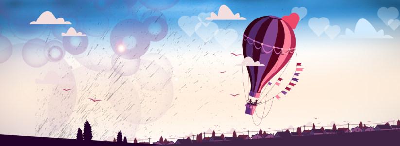 卡通热气球背景