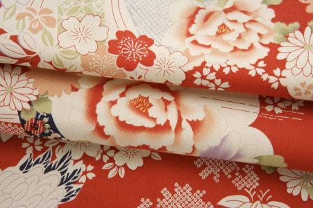 牡丹仙鹤布料底纹纹理