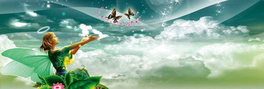 绿色背景 梦幻