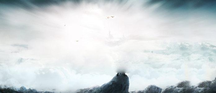 白云雪山背景