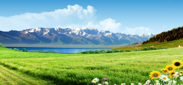 蓝天白云山脉牧场