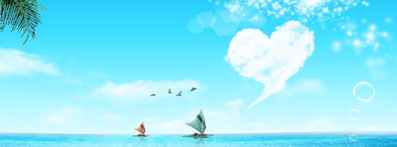 海上帆船清新背景banner高清背景图片素材下载