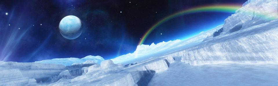 星空彩虹唯美蓝色背景高清背景图片素材下载