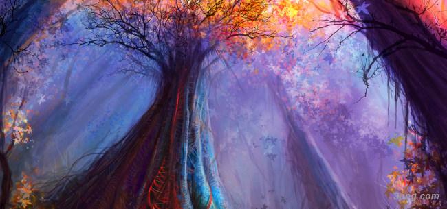 神奇的森林背景高清大图-神奇背景卡通/手绘/水彩