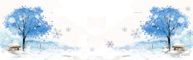 简约冬季素描雪景背景banner背景高清大图-雪景背景淡雅/清新/唯美