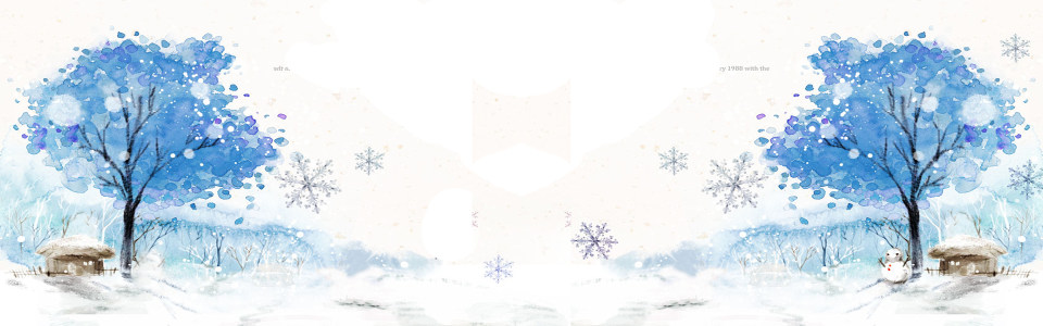 简约冬季素描雪景背景banner高清背景图片素材下载
