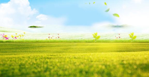 唯美天空草地背景高清背景图片素材下载
