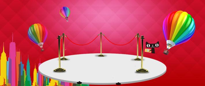 卡通几何多边形热气球背景banner