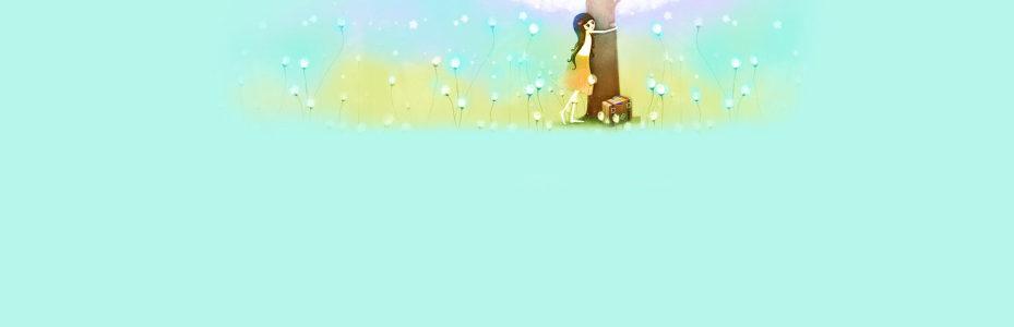 卡通清新小女孩背景banner