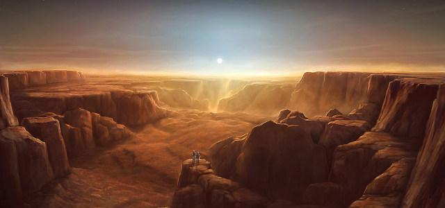 大气手绘科幻山脉背景