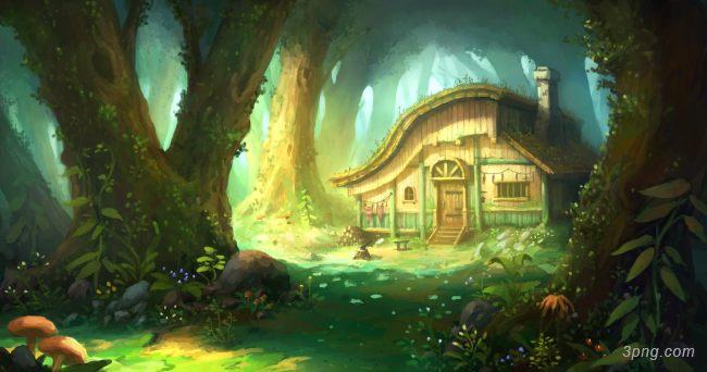 森林插画背景背景高清大图-插画背景卡通/手绘/水彩