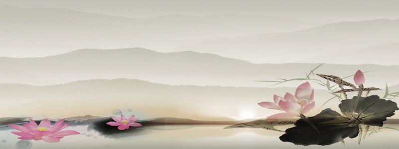 水墨花卉高清背景图片素材下载