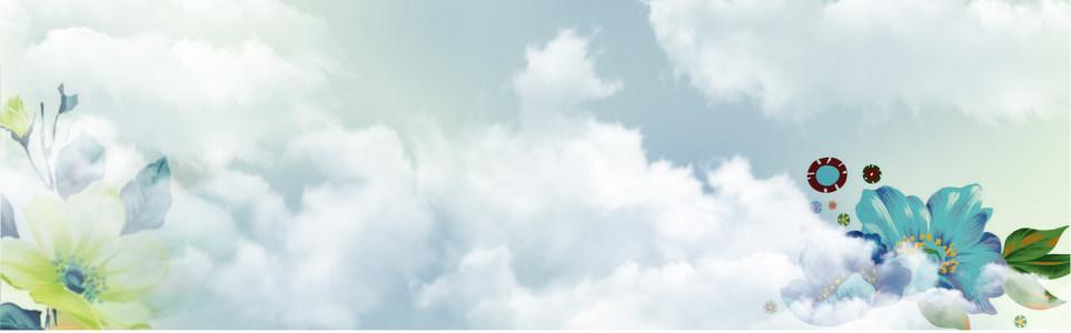 蓝天白云花朵背景