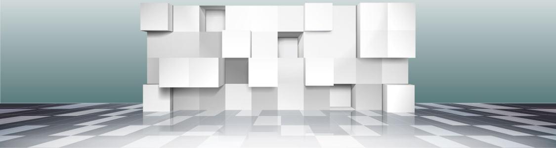 电商立体墙白色几何背景banner