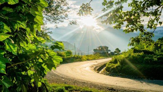 山峰道路背景高清背景图片素材下载