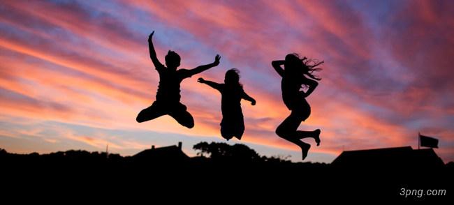 夕阳下 跳跃的人物摄影下载背景高清大图-跳跃背景自然/风光