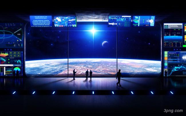 科技空间站控制台场景背景背景高清大图-空间站背景科技/商务