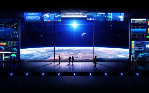 科技空间站控制台场景背景高清背景图片素材下载